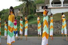 Moko Jumbies (stick walkers) at the East End BVI Festival