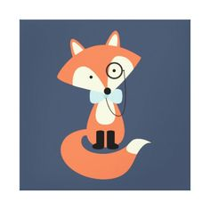 Monocle Hipster Red Fox Canvas Print