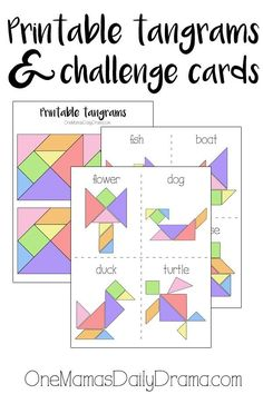 Printable tangrams + challenge cards make a fun kids activity to keep the entertained in the car. Great for a long road trip so they don't spend the whole time on electronics! Also easy to take on a plane, cruise, etc. They fit in a small envelope. Tangram Printable, Printable Cards, Fun Activities For Kids, Preschool Activities, Fun Printables For Kids, Shape Activities, Printable Activities For Kids, Free Printables, Tangram Puzzles