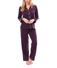 Another great find on #zulily! Deep Plum Satin-Trim Moisture-Wicking Meghan Notch Collar Pajama Set by Softies #zulilyfinds