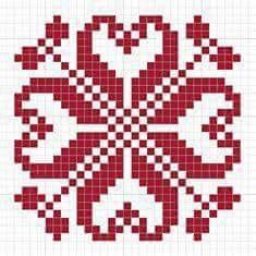 Biscornu Cross Stitch, Cross Stitch Charts, Cross Stitch Designs, Cross Stitch Patterns, Pixel Crochet, Crochet Cross, Knitting Charts, Knitting Stitches, Palestinian Embroidery
