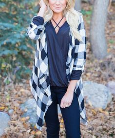 Look at this Bella Ella Boutique Black & White Plaid Sidetail Open Cardigan on #zulily today!