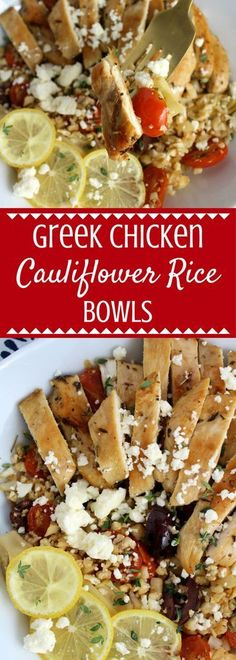 Looking for an easy, fresh lunch or dinner? Try these gluten free and paleo friendly Greek Chicken Cauliflower Rice Bowls! So tasty and simple to make! This post is sponsored by ShopRite but all opinions are my own. #ShopRite #WholesomePantry