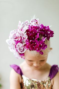 Orchid crown for the flower girl | Photo by Yolande Marx | Floral design by Fleur le Cordeur