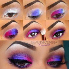 Rainbow Eyeshadow Eye Makeup ❤   Source: Unknown