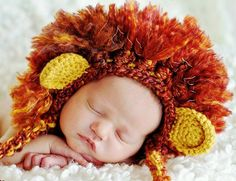 Crochet Lion Beanie  Photography Prop  Ear Flaps  by PurdyThings, $32.00
