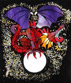 Jane Hain's glass on glass mosaic dragon made using No Days Mosaic Adhesive film Mosaic Glass, Stained Glass, Glass Art, Mosaics, Adhesive, Dragon, Film, Halloween, Day