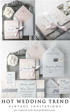 Vintage lace wedding invitations in pastel pink and grey color scheme. Timeless and romantic lace is perfect not only for wedding gowns, it will also work perfectly as an addition of wedding stationery and decorations. The touch of lace Affordable Wedding Invitations, Laser Cut Wedding Invitations, Vintage Wedding Invitations, Elegant Wedding Invitations, Wedding Invitation Cards, Wedding Themes, Wedding Stationery, Wedding Cards, Wedding Gowns