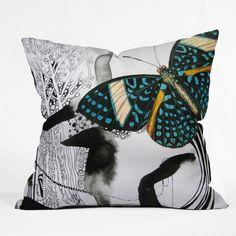 Deb Haugen Ink Black Butterfly Throw Pillow #butterfly #pattern #bedroom