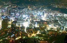 Seoul night view from Namsan mountain tower - South Korea
