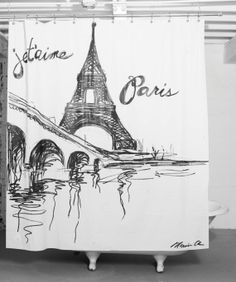 Je t'aime Paris Shower Curtain by ShowerGraffiti on Etsy, $89.00