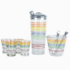 1930s Vintage Multi Color Stripe Glass Cocktail Shaker, Ice Bucket & Glasses Set. Available at The Hour Shop & TheHourShop.com ~ curated glassware, barware, syrups bitters and more for the modern home bar.