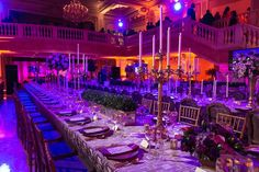 Purple lighting, gold details, and tablecloths in rich eggplant and lavender matched the dinner's elegant setting in the National Museum of... Photo: Davide DePas