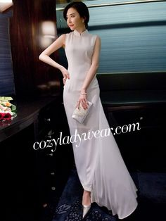 Chiffon Ankle-Length Qipao / Cheongsam Dress with Asymmetric Hem Cheongsam Dress, Mannequins, Traditional Dresses, Asian Fashion, Chiffon Dress, Beautiful Outfits, Designer Dresses, Ankle Length, Gowns