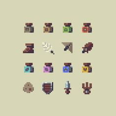 Working on a more unified palette for items (also, potions). #pixelart #gamedev