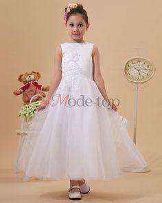Satin natürliche Taile Prinzessin Kommunionkleid/ Blumenmädchenkleid - Mode-Top