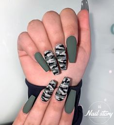 Matte White Acrylic Nails Ideas Alongside Nail Care Routine Douglas, Matte Black Na . - Matte White Acrylic Nails Ideas Next to Nail Care Routine Douglas, Matte Black Nails … – Matte - White Acrylic Nails, Best Acrylic Nails, Acrylic Art, Acrylic Nail Designs For Summer, Black Coffin Nails, Acrylic Colors, Camouflage Nails, Camo Nail Art, Nail Care Routine