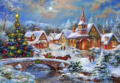 Jim Mitchell - snowy landscape and people Christmas Scenery, Noel Christmas, Christmas Paper, Retro Christmas, Vintage Christmas Cards, Christmas Pictures, Christmas Themes, Christmas Crafts, Theme Noel