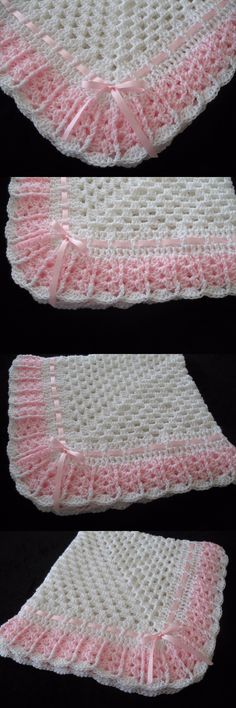 Blankets and Throws 3081: Hand-Crochet White And Pink Square Baby Blanket Afghan -> BUY IT NOW ONLY: $39.99 on eBay!