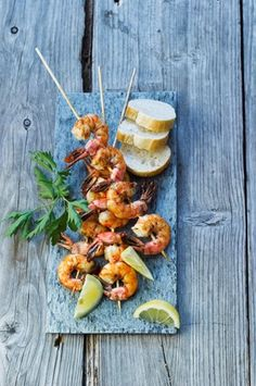 Spain Grilled Prawn Skewers With Bread