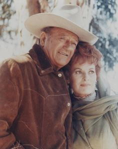 """John Wayne & Maureen Oharra . """"Tomorrow is the most important thing in life. Comes into us at midnight very clean. It's perfect when it arrives and it puts itself in our hands. It hopes we've learned something from yesterday.""""  John Wayne. """"How could you have had such a wonderful life as me if there wasn't a God directing?""""  Maureen O'Hara"""