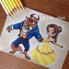My favorite Disney ! Chibi beauty and the beast dancing ✨💕 Done on a toned textured Kraft paper with faber Castell polychromos colored… Kawaii Disney, Chibi Disney, Disney Belle, Disney Princess Art, Kawaii Drawings, Cartoon Drawings, Cute Drawings, Beauty And The Beast Drawing, Disney Beauty And The Beast