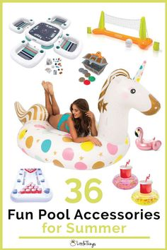 pool accessories 36 Accessories Thatll Make the Pool Even More Fun This Summer: Make a splash this summer with these pool accessories that will take swimming to a whole new level. Big Pools, Cool Pools, Inflatable Pool Chair, Beer Pong Float, Floating Drink Holder, Summer Tunes, Giant Pool Floats, Intense Games, Pool Chairs