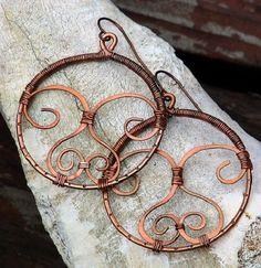 Big Boho Hippie Hoop Artisan Earrings, Copper with Spirals