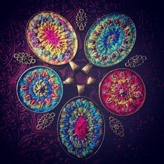All together #pendants #embroidery #textilejewelry #handmade #bordado #broderie #needleart #silk #wool #boho #bohemian #hippiechic #gybsystyle #mandala #colorful #collection #stitched