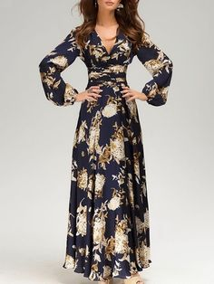 Sparkling V Neck  Printed Maxi-dress Wish it were black and from a less sketchy site!