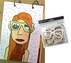 """Things I Will Be Seeing"" Summer Self Portrait. Get these little wooden glasses and use as a template. Perfect for tracing. #selfportrait #michaels"