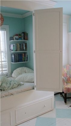 bed in a closet--- we took the doors of the closet and put the head of the bed in the closet- you can paint the walls different colors- place a painting above the bed or poster- make it into a canopy by using sheets or gauzy material.  You can do a lot with a closet .....ms I WANNA DO THIS!!