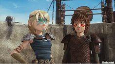 Hiccup and Astrid in Dawn of the Dragon Racers