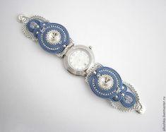 Купить Браслет сутажный для часов - синий, swarovski, handmade, jewelry, beads, soutache, watch, сутаж