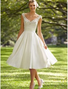 Satin V-neck Knee-length A-line Wedding Dress with Beaded Embellishment Adorn the Bust - Bridal Gowns - RainingBlossoms