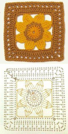 Crochet Flower Squares, Crochet Blocks, Granny Square Crochet Pattern, Crochet Granny, Crochet Bedspread Pattern, Crochet Motif Patterns, Crochet Chart, Crochet Stitches, Filet Crochet