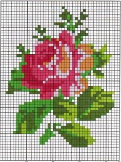 Lovely cross stitch rose pattern - the bloom could be in any combination of colours Cross Stitch Needles, Cross Stitch Rose, Cross Stitch Flowers, Cross Stitch Charts, Cross Stitch Designs, Cross Stitch Patterns, Cross Stitching, Cross Stitch Embroidery, Embroidery Patterns