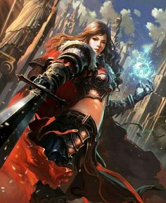 Fantasy Art: Fealty Sworn Blandine - Fantasy Art by Liang Xing, China. Fantasy Warrior, Fantasy Girl, Warrior Girl, Fantasy Women, Fantasy Portraits, Fantasy Artwork, Portrait Illustration, Character Illustration, Fantasy Illustration