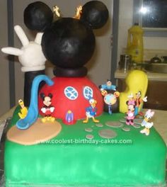 Homemade Mickey Mouse Clubhouse Birthday Cake: My son loves Mickey Mouse Clubhouse and wanted a Mickey Mouse Clubhouse Birthday Cake for his 4th birthday. I did search online for ideas and came up with