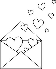 Valentine's Day Black and White Clip Art - Bing images Valentine Coloring Pages, Heart Coloring Pages, Colouring Pages, Coloring Books, Free Coloring, Valentines Day Activities, Valentine Day Crafts, Valentine Pictures To Color, Flower Drawing Images