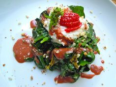 Warm Spinach and Sorrel Salad with Spring Garlic, Hazelnuts, and Roasted Strawberry Balsamic Dressing | Downtown Epicure