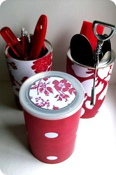 easy storage using cans and cute paper