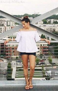 Easy summer vibes! White off-shoulder top, denim shorts, and gladiators. Links in the post!