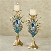 Jewel Plume Candleholders Multi Cool Set of Two