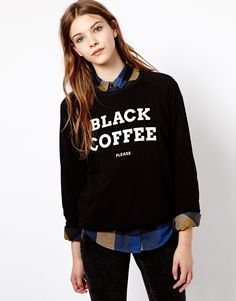 Pull&Bear   Pull&Bear Black Coffee Sweatshirt at ASOS
