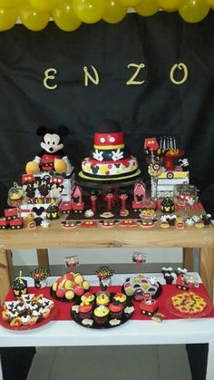 Birthday Mickey mouse Mickey Mouse First Birthday, First Birthdays, Birthday Parties, Cake, Party, Desserts, Food, Anniversary Parties, Pie Cake