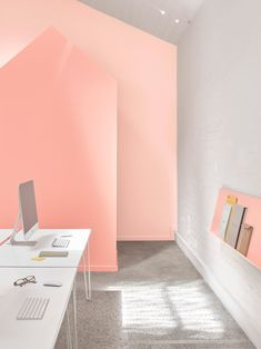 Australian practice BoardGrove Architects uses three tones of peach to define zones within this revamped shared studio space in Melbourne, Australia. Office Interior Design, Office Interiors, Timber Ceiling, Australian Architecture, Home Desk, Home Comforts, Office Walls, Home Pictures, Commercial Interiors
