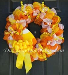 Halloween Candy Corn Deco Mesh Wreath $65 on etsy by DazzleaDoor