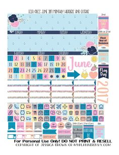 Free Printable June 2017 Monthly Headers & Extras for the Erin Condren and Recollections Creative Year Planners from myplannerenvy.com