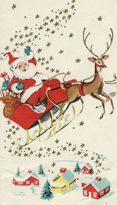 Santa in Sleigh  Image from vintage Christmas card